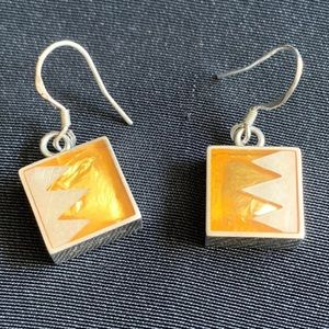 Sterling & Yellow Enamel Victoria Varga Earrings
